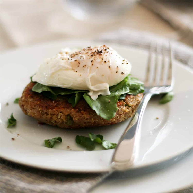 Quinoa Cakes and Poached Eggs, high protein breakfast